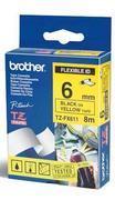 TZe-FX611 - žlutá/černý tisk, flexibilní, 6 mm