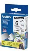 TZe-FX211 - bílá/černý tisk, flexibilní, 6 mm