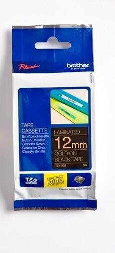 TZe-334 - černá/zlatý tisk, 12 mm - 1