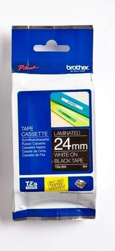 TZe-355 - černá/bílý tisk, 24 mm - 1