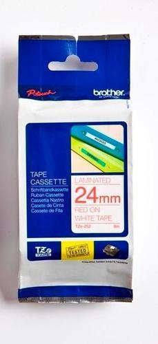 TZe-252 - bílá/červený tisk, 24 mm - 1