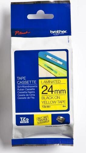 TZe-651 - žlutá/černý tisk, 24 mm - 1