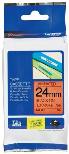 TZe-B51 - signální oranžová/černý tisk, 24 mm