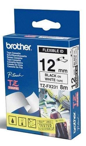 TZe-FX231 - bílá/černý tisk, flexibilní, 12 mm - 1