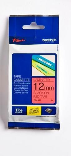 TZe-431 - červená/černý tisk, 12 mm - 1