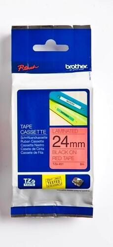 TZe-451 - červená/černý tisk, 24 mm - 1
