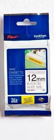 TZe-S231 - bílá/černý tisk, extrémně adhezivní, 12 mm - 1