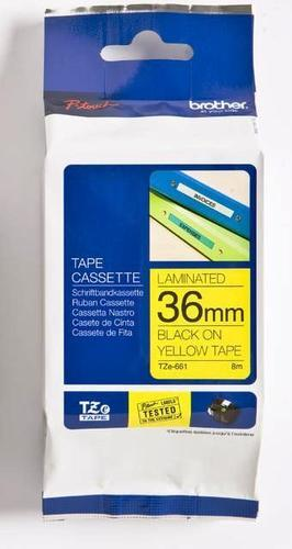 TZe-661 - žlutá/černý tisk, 36 mm - 1
