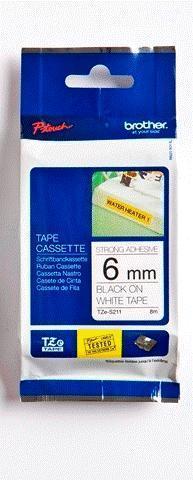 TZe-S211 - bílá/černý tisk, extrémně adhezivní, 6 mm - 1