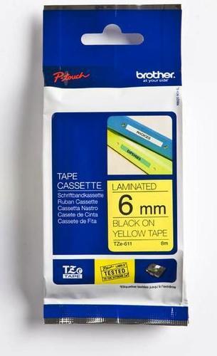 TZe-611 - žlutá/černý tisk, 6 mm - 1
