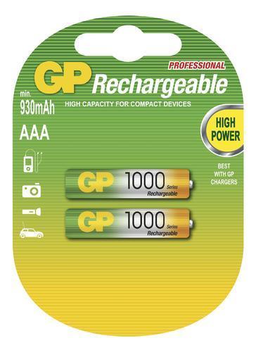 Nabíjecí baterie GP NiMH 1000 HR03 (AAA), 2 ks  - 1