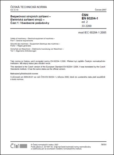 ČSN EN 60204-1 ed. 2 - El. zařízení strojů
