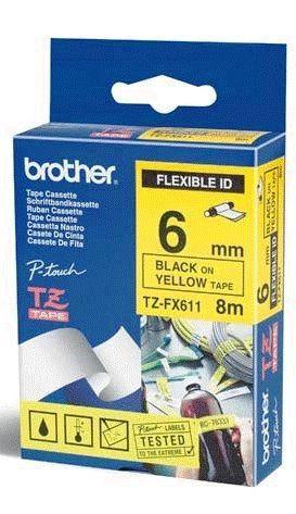 TZe-FX611 - žlutá/černý tisk, flexibilní, 6 mm - 1