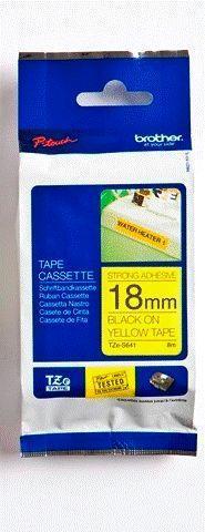 TZe-S641 - žlutá/černý tisk, extrémně adhezivní, 18 mm - 1