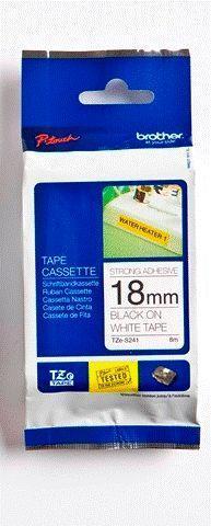 TZe-S241 - bílá/černý tisk, extrémně adhezivní, 18 mm - 1