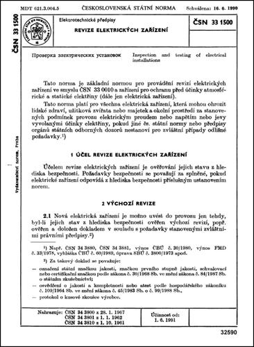 ČSN 33 1500 - Revize elektrických zařízení