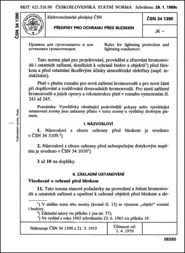 ČSN 34 1390 - Předpisy pro ochranu před bleskem - NEPLATNÁ norma