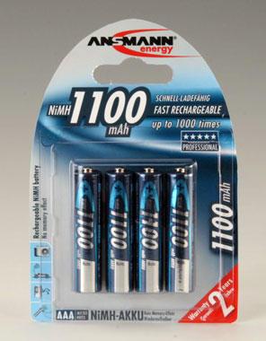 ANSMANN - nabíjecí baterie NiMH 1100 HR03 (AAA), 4 ks