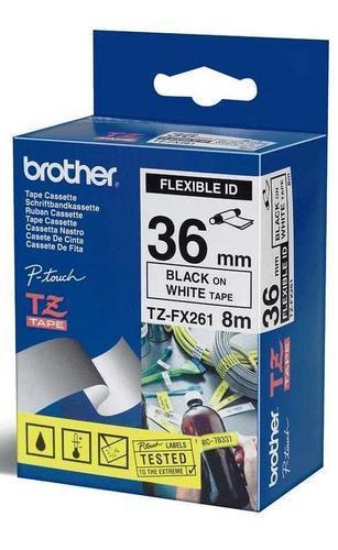 TZe-FX261 - bílá/černý tisk, flexibilní, 36 mm