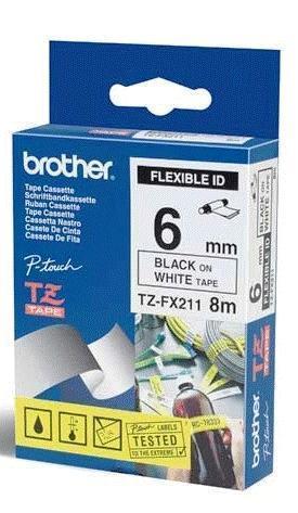 TZe-FX211 - bílá/černý tisk, flexibilní, 6 mm - 1