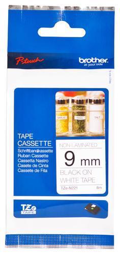 TZe-N221 - nelamin. páska 9 mm bílá/černý tisk, do tiskárny PT