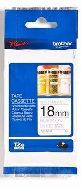 TZe-N241 - nelamin. páska 18 mm bílá/černý tisk, do tiskárny PT - 1
