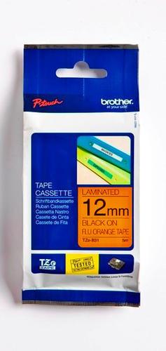 TZe-B31 - signální oranžová/černý tisk, 12 mm