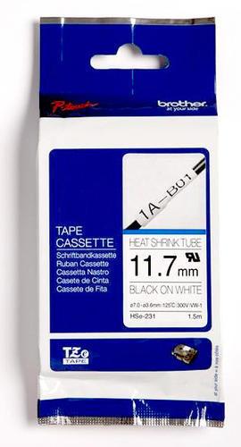 HSe-231 - bužírka bílá/černý tisk (12 mm) - 1