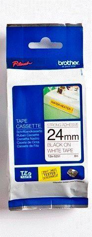 TZe-S251 - bílá/černý tisk, extrémně adhezivní, 24 mm - 1
