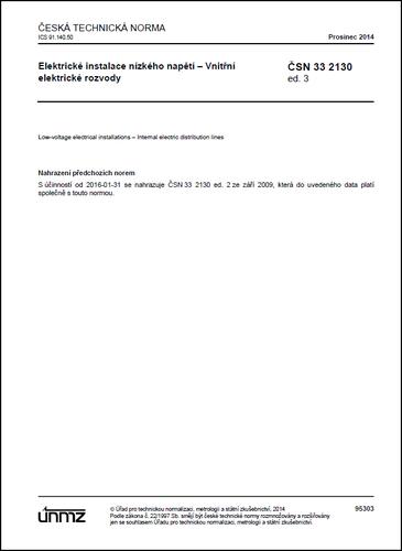 ČSN 33 2130 ed. 3 - El. instalace nn - Vnitřní elektrické rozvody