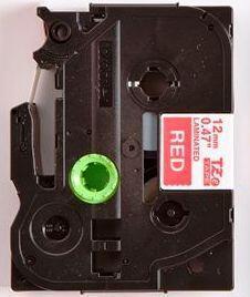 TZe-435 - červená/bílý tisk, 12 mm - 2