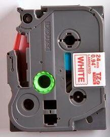 TZe-252 - bílá/červený tisk, 24 mm - 2