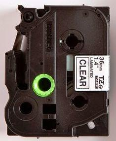 TZe-161 - průsvitná/černý tisk, 36 mm - 2