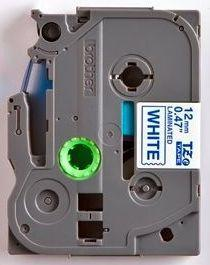 TZe-233 - bílá/modrý tisk, 12 mm - 2