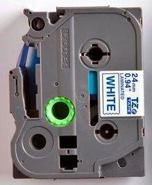TZe-253 - bílá/modrý tisk, 24 mm - 2