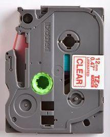 TZe-132 - průsvitná/červený tisk, 12 mm - 2