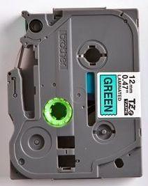 TZe-731 - zelená/černý tisk, 12 mm - 2