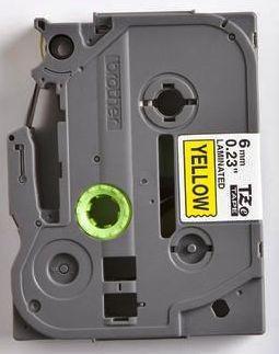 TZe-611 - žlutá/černý tisk, 6 mm - 2