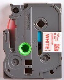 TZe-232 - bílá/červený tisk, 12 mm - 2